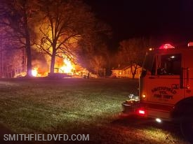 SVFD Firefighters setting up to protect an exposure during a Barn Fire on Eagle Nest Lane 2-10-2019