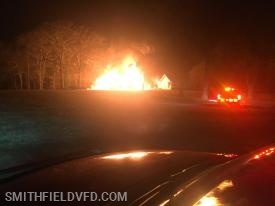 First Arriving Units took this photo of a Barn Fire on Eagle Nest Lane on 2-10-2019